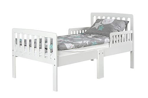 Leomark Blanco Cama Infantil de Madera - White Modern - con Las Barreras de Protección, Colchón Espuma, para niños, Dimensión del colchón: 140/70 cm