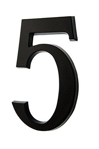 HUBER Hausnummer Nr. 5 Aluminium pulverbeschichtet anthrazit/schwarz 20 cm, edles dreidimensionales Design