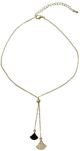LKLFC Collar Mujer Collar Hombre Collar Collar Simple Minoría Femenina Cadena de clavícula Triángulo en Forma de Abanico Collar con Colgante de Diamantes Regalo Niñas Niños Collar