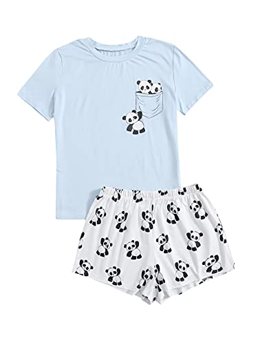 DIDK Conjunto de pijama de dos piezas para mujer, diseño de dibujos animados Panda Azul Blanco L corto
