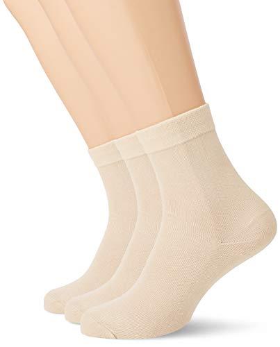 Nur Die Damen Gummi 3er Socken, Beige (Beige 355), 35/38 (Herstellergröße: 35-38) Pack