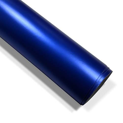 folimac 10 €/m² Blau Chrom Matt Metallic Autofolie Blasenfrei mit Luftkanäle (18meter x 152cm)