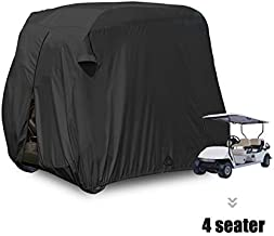 moveland 4 Passenger Golf Cart Cover Outdoor Accessories Waterproof Dust, Extra PVC Coating Custom Cart Cover for EZ GO, Club Car, Yamaha(Black)