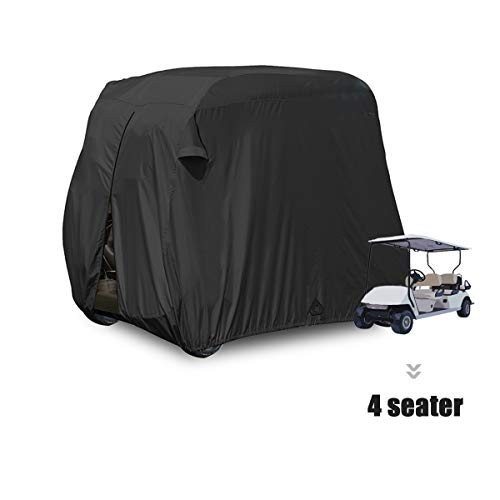 moveland 4 Passenger Golf Cart Cover Outdoor Accessories|Waterproof Dust, Extra PVC Coating Custom Cart Cover for EZ GO, Club Car, Yamaha(Black)