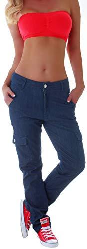 Damen Cargo Jeans Cargohose Baggy Hüftjeans Übergröße Big Size Thermohose Cargojeans (XXXXXL 50, Blau) gr größe Size Oversize Cargos Thermo Winter locker lässig Boyfriend Hose-n Ziertasche Tasche