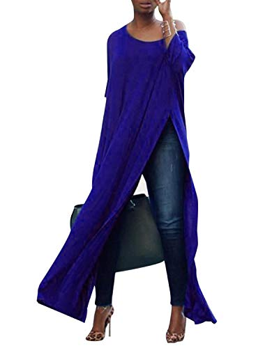 kenoce Damen Beiläufige Lose Lange Maxi Tops Scoop Neck Side Split Shirt Kleid Baggy Tunika Blusen 3/4 Ärmel Pullover Königsblau 2XL