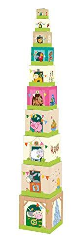 Haba 5879 - Stapelwürfel Auf dem Land, lustiges Stapelspiel für Babys ab 1 Jahr, Stapelwürfel aus stabilem Karton, BPA-frei, Turm mit niedlichen Bauernhofmotiven