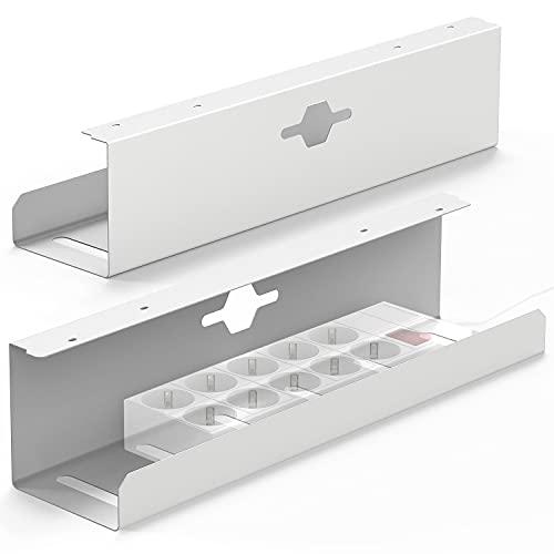 iVengo® Kabelkanal Schreibtisch [2er Set] für ideales Kabelmanagement Schreibtisch - Kabelhalter Schreibtisch mit extra viel Platz [2x50cm] - stabile Kabelführung Schreibtisch - Verkehrsweiß matt