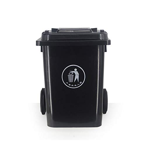 Great Features Of LXF Outdoor Waste Bins 80L Plastic Trash can Outdoor Trash can with Pulley Removab...