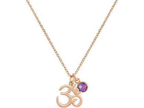 Gemshine YOGA Meditation Ohm Halskette aus 925 Silber, vergoldet oder rose. 2 cm Anhänger mit lila Amethyst. Nachhaltiger, qualitätsvoller Schmuck Made in Spain, Metall Farbe:Silber rose vergoldet