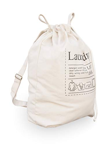 Topline Laundry Hamper Bag with Adjustable Drawstring and Carrying Strap - Beige