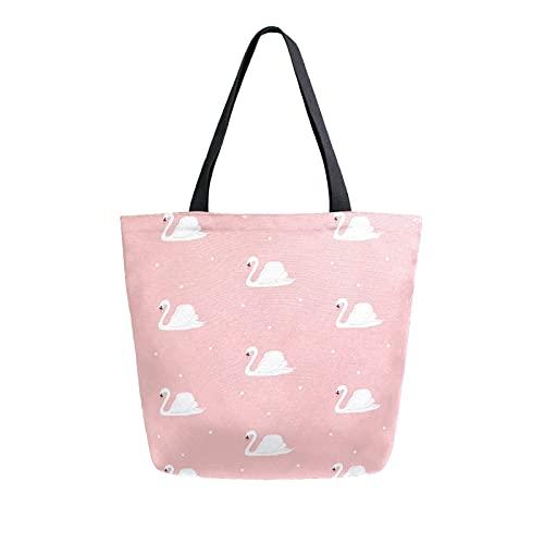 SunsetTrip Segeltuch-Tragetasche für Frauen, süßes Schwan-Tier-Umhängetasche, wiederverwendbar, große Einkaufstasche, Einkaufstasche, Handtasche mit Innentasche
