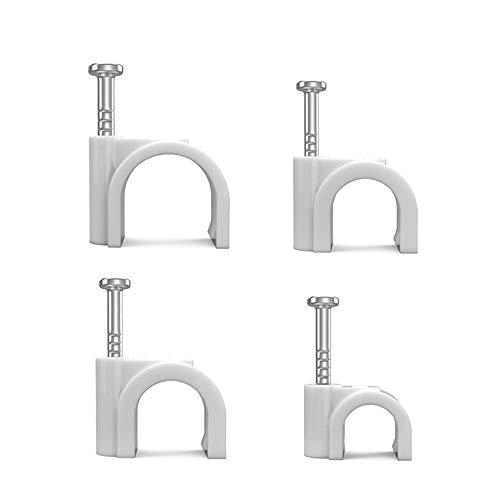 FUJIE 400 Stück Kabelschellen Nagelschellen Haftclips Runde Kabelclips mit Nagel für Kabel - Größen: 6mm, 7mm, 8mm, 10mm, Weiß