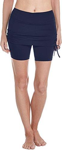 Coolibar UPF 50+ Women's Shorebreak Skirted Swim Shorts - Sun Protective (Small- Navy)