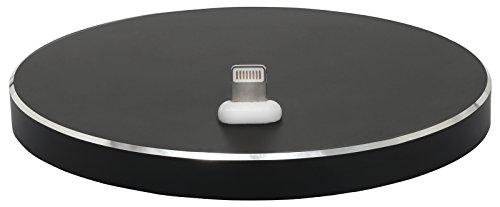 Preisvergleich Produktbild StilGut Docking Ladestation oval kompatibel mit iPhone und Apple-Geräten. Design Docking-Station aus Aluminium geeignet für iPhone 8,  iPhone 7,  iPhone 6s,  iPhone SE,  Schwarz
