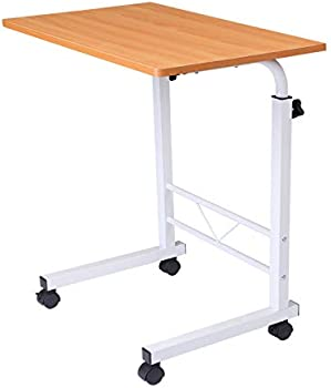 Keegreen Height Adjustable Bedside Computer Table with Wheels
