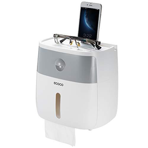 Blusea Handtuchspender Wandmontage Papierhalter Ohne Bohren Rollenpapierspender mit Schublade und Ablage Transparente Sichtfenster Badezimmer Multifunktions Aufbewahrungsbox (Gray)
