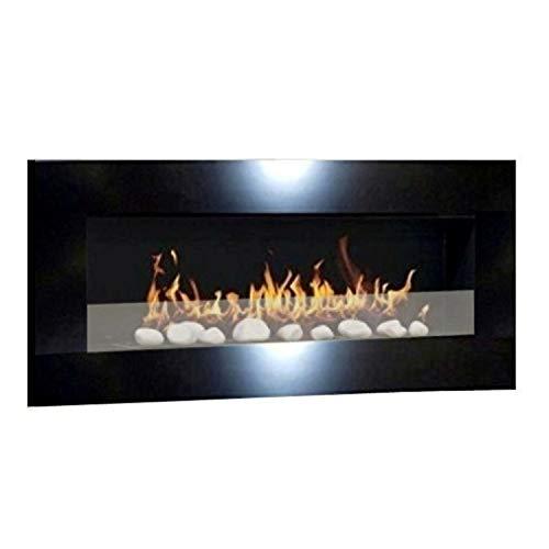 Ethanolkamin Gelkamin Kaminofen Wandkamin Design Don Fuego XXL + gratis 24 Dekosteine (Schwarz Glanz + Sicherheitsglas)