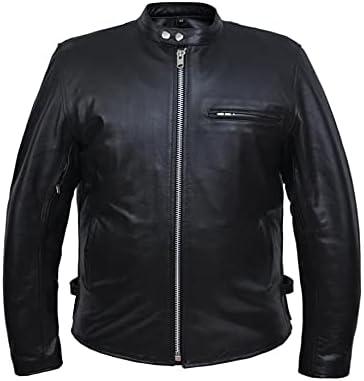 unik 502-00-BLK-36 Premium Leather Scooter Motorcycle Biker Jacket for Men44; Black - 36