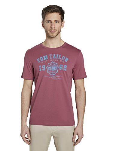 TOM TAILOR Herren T-Shirts/Tops T-Shirt mit Logo-Print Wine Rose pink,M
