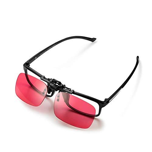 PILESTONE GM-3 Gafas Daltónicas Lentes Correctivos Clip-On para Daltonismo de Color Rojo/Verde – Protán Fuerte, Severo (rojo)