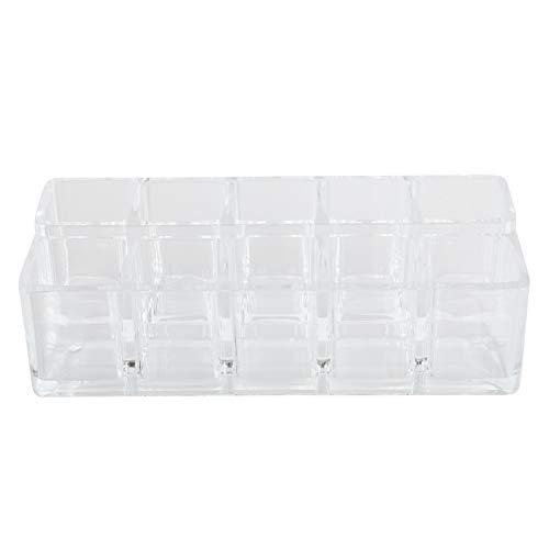 Soporte de lápiz labial acrílico, organizador de lápiz labial acrílico 10 espacios de almacenamiento con mujeres para lápiz labial para botellas de pinceles
