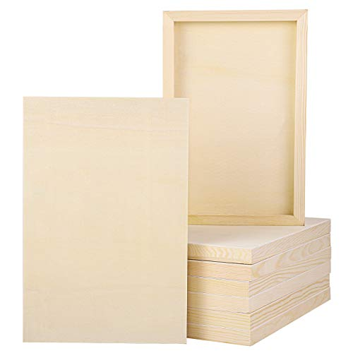 ADXCO 8 Pack Wood Panels 12 x 8 inch Wooden Canvas Board Unfinished Wooden Panel Boards for Painting, Arts, Pouring Use with Oils, Acrylics