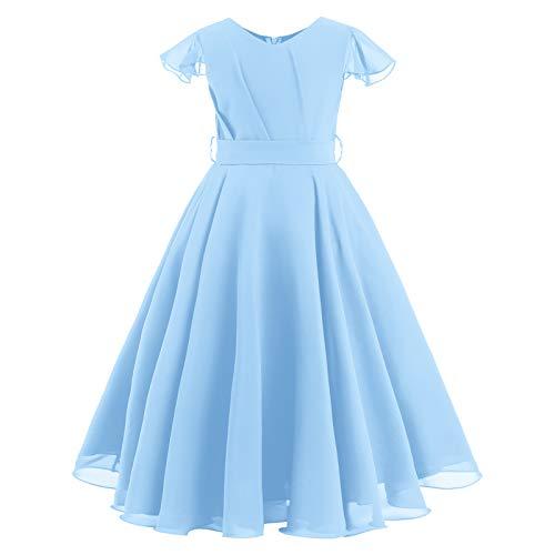 IWEMEK Vestido de verano para niña con volantes, manga de gasa, vestido...