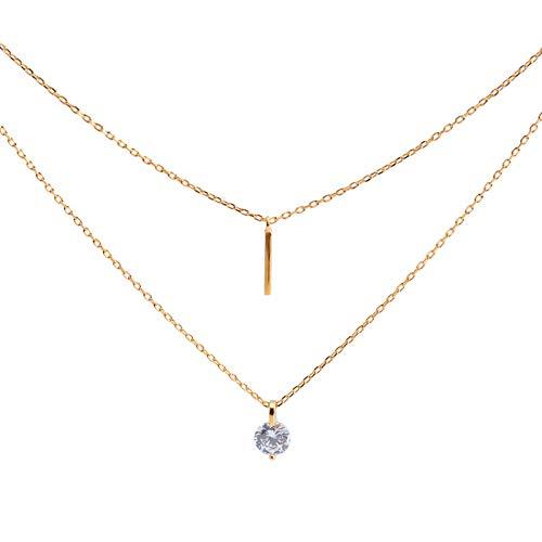 A/N Kiccoum Collier Double Couches Mot Clignotant Collier De Diamant Femme Chaîne De Clavicule en Argent Sterling 925
