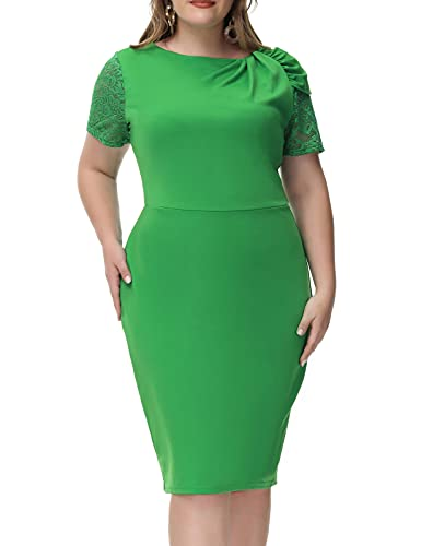 Plus Size Wedding Guest Dresses for Women Tea Party Club Night Lace Dress Green 24W 5X