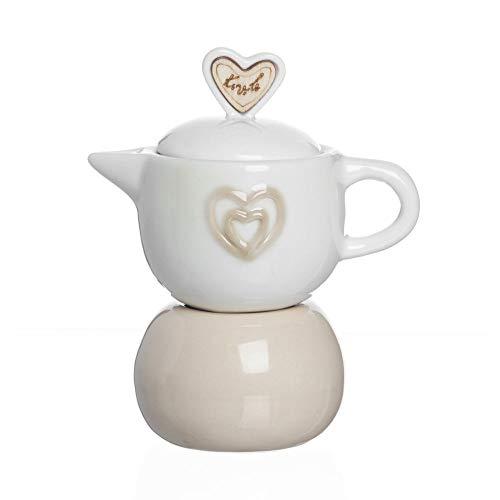 Publilancio srl Zuccheriera a Forma di caffettiera in Ceramica con Cuori BOMBONIERA