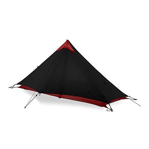 KGLOPYE tent 2 people outdoor ultralight camping tent 3/4 Season 1 Single 15D nylon silicone coated rodless tent,Black 1P 3 Season