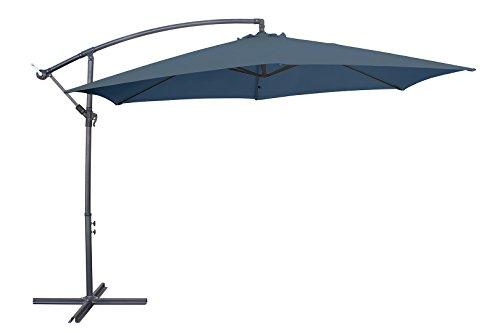 Sombrilla de aluminio de Miweba, con faldón de 350cm de diámetro, protege de 50+UV, con funda–como sombrilla de mercado, para jardín, para la terraza..., gris