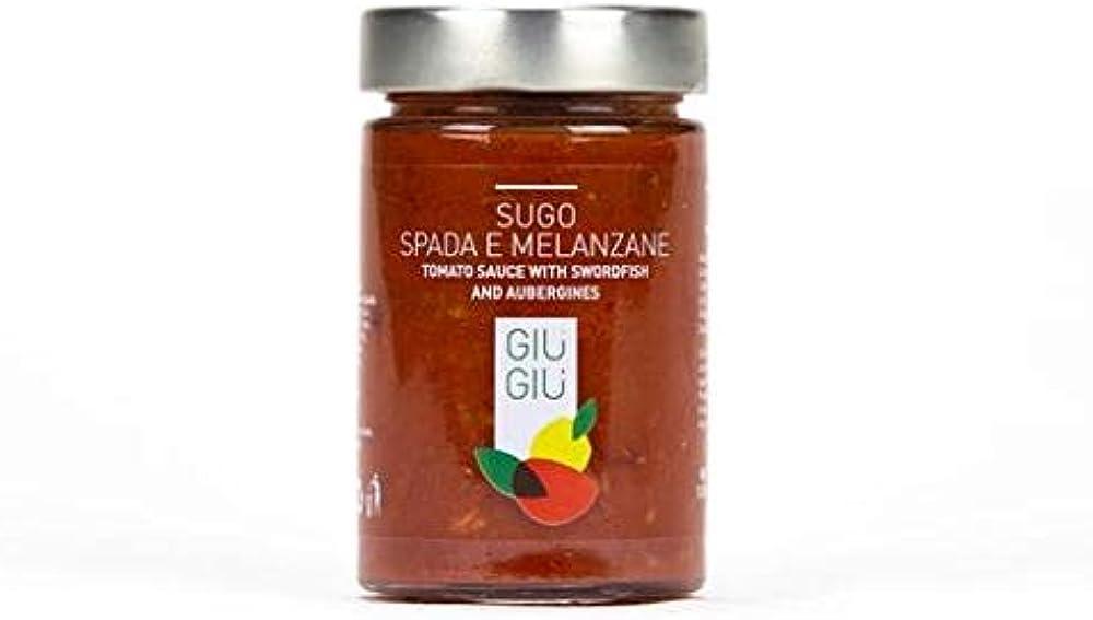 Giu` giu`,4 vasetti per 200 gr sughi per condimento pasta,vari gusti,pesce spada e melanzane