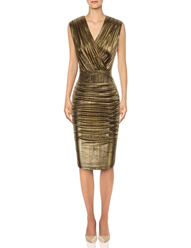 GRACE KARIN Women's Cute V Neck Casual Pleated Bodycon Dress for Work S Gold