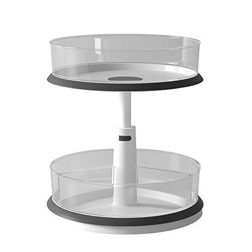 WINDASER Portaspezie Organizer e Storage per armadio dispensa da cucina - Rotazione di 360 gradi - Altezza regolabile - Piano antiscivolo -11 pollici -Trasparente, 2 livelli con contenitori rimovibili