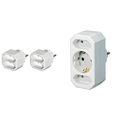 Hama - Ladrón de 2 enchufes, color blanco + Brennenstuhl 1508050 - Distribuidor Europlug 2 + enchufe 1, color blanco