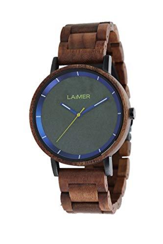 LAiMER Holzuhr - Armbanduhr LAURENZ aus Massivholz - analoge Herren Quarzuhr mit Zifferblatt aus Granit & Leuchtzeiger - Ø 42mm - Zero Waste Verpackung aus Naturholz