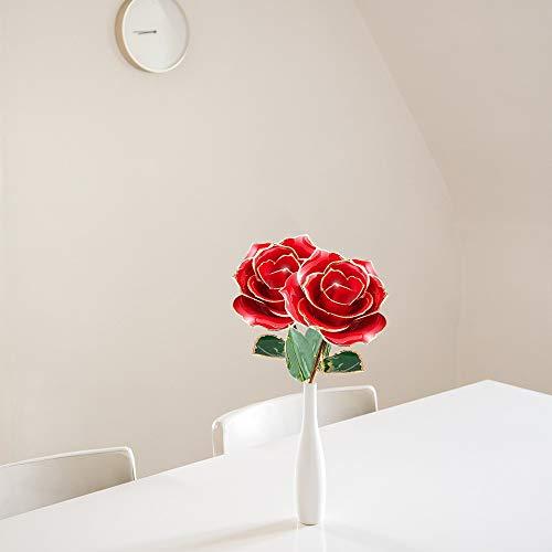 Wffo - 1 Flor chapada en Oro Rosa de 24 Quilates con Rosas, decoración para Bodas de cumpleaños