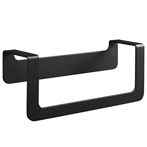 WEISSENSTEIN Toallero de baño adhesivo | Porta toallas de pared acero inoxidable sin taladro | Toallero Negro adhesivo 22 x 7 x 10 cm