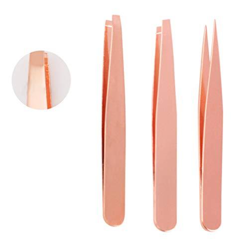 S-TROUBLE 3 Pcs Pince À Sourcils Set Professionnel en Acier Inoxydable Incliné Plat Pointe Pointue Kit Outils De Maquillage Nipper Kit Portable avec Étui