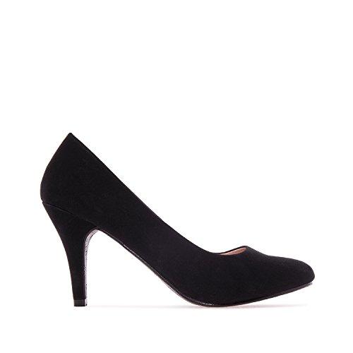 Andres Machado - Zapatos de tacón para Mujer - Tacon de Aguja - ESAM422 - Hora Estilo Retro - Tallas pequeñas, Medianas y Grandes - sin Cordones - Zapato de tacón Peach Negro. EU 33
