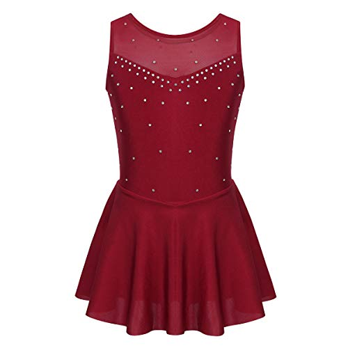 TiaoBug Sparkly Rhinestone Roller Skating Dresses for Girls Sleeveless Tulle Back Ice Figure Skate Competition Skirt Dress Burgundy 6