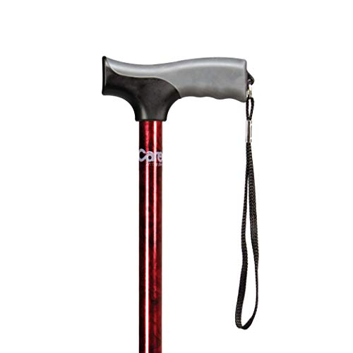 carex health brands canes Carex Health Brands Soft Grip Walking Cane - Height Adjustable with Wrist Strap - Latex Free Soft Cushion Handle, Red Pattern & Marble