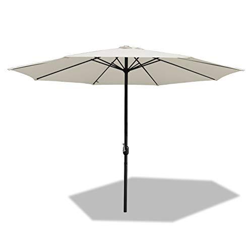BMOT Sombrilla de Aluminio Ø 350 cm Parasol con manivela Parasol para terraza jardín Playa balcón, Beige