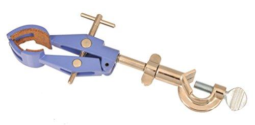 Eisco Pinzas de laboratorio con retorta, 4 dientes, forradas de corcho con cabeza de tornillo redondo - Cilindros hasta 15 mm - Objetos hasta 90 mm
