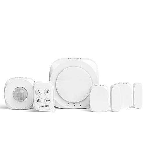 Linkind Smart Kinderleichte Alarmanlagen Set, Büro Home Sicherheitssystem Zigbee Handy (App)/ Keyfob steuerbar, 1xBewegungsmelder, 2xTür-/Fenstersensoren, Komplettes Alarm System Set
