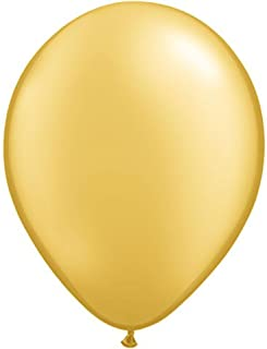 ゴム風船 Qualatexバルーン(ラウンド無地・メタリックカラー)ゴールド 16インチ(直径42cm) 50個入り/袋