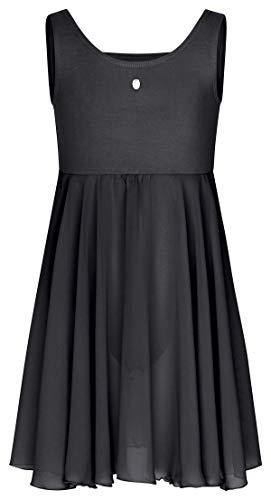 tanzmuster ® Ballettkleid Mädchen ärmellos - Helena - aus Baumwolle mit Glitzerstein und langem Chiffon Rock in schwarz, Größe 152/158
