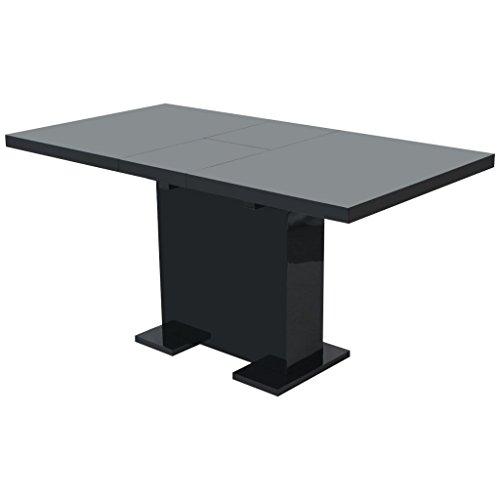 Festnight Outdoor Garden Table Extendable Dining Table High Gloss Black